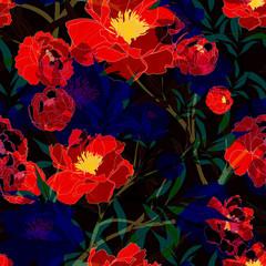Tuinposter Botanisch Beautiful seamless floral pattern background.