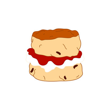 Doodle scone or biscuit with jam and cream isolated on white background. Traditional British teacake, afternoon tea, cream tea, tea party, buttermilk biscuits. Great for icon, card, menu, logo design.