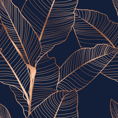 Banana palm tree leaves seamless pattern texture. Copper gold shiny glow outline. Navy dark blue background.