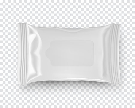 Realistic mockup of wet wipes tissues pack isolated on transparent background. White plastic container template ready for design and branding. Product presentation and marketing vector illustration.
