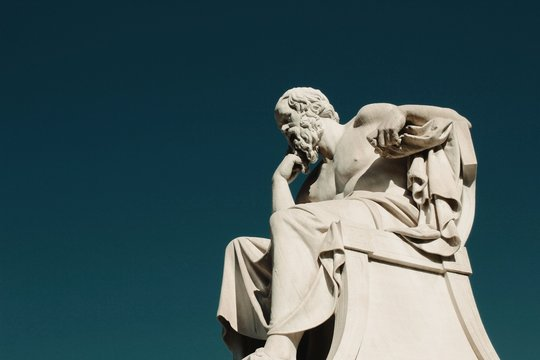 Statue of the ancient Greek philosopher Socrates in Athens, Greece.