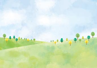 風景:水彩 水彩画 背景 背景素材 風景 にじみ 丘 草原 野原 春 夏 秋 冬 原っぱ 高原 森
