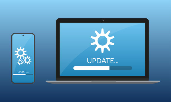 Update process design. Laptop and Smartphone or Mobile phone with progress bar on the screen. Update software or computer system concept. Vector illustration.