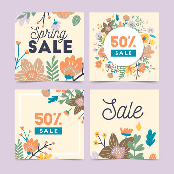 Set of spring flowers vector template for Instagram post, Stories, season sale, discounts, promotional, flyers and posters, apps, websites, printing material . Colorful and floral sale badges