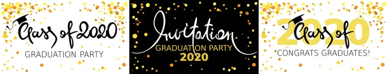 Graduate 2020. Vector illustration, card, invitation with gold confetti and calligraphic title. Fotobehang