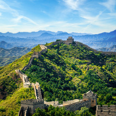 Autocollant pour porte Muraille de Chine Great Wall of China in summer day