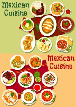 Mexican tacos, fajitas and nachos with meat, vegetable, salsa and guacamole sauce. Stuffed pepper, bean sandwiches and chicken quesadilla, rice with beef chilli con carne, tomato soup and bacon potato
