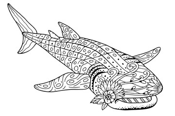 Antistress whale shark coloring book