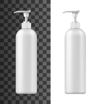 Bottle with pump dispenser 3d vector mockups of white plastic cosmetic containers. Realistic templates of packaging for shampoo, liquid soap or shower gel, hand cream, body lotion or bath foam