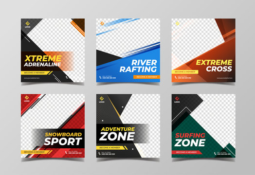 Extreme sport square banner template. Promotional banner for social media post, flyer and web banner