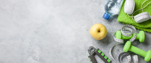 Fitness background with equipment and accessories