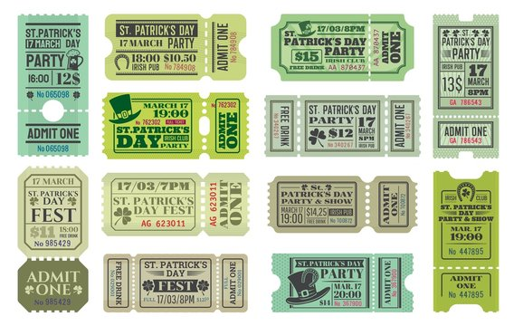 St Patricks Day party ticket vector templates of Irish pub religious holiday celebration. Admit one coupons with shamrock and green beer, leprechaun hats, lucky clover leaves and horseshoes