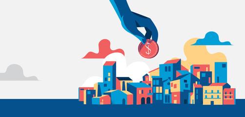 Mano che tiene una moneta del dollaro, paesaggio urbano con case e edifizi - illustrazione vettoriale Fototapete
