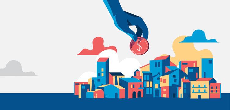 Mano che tiene una moneta del dollaro, paesaggio urbano con case e edifizi - illustrazione vettoriale
