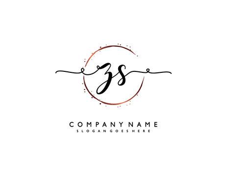 letter ZS SZ minimalist feminine handwriting logo. vector design of wedding invitation badges, fashion, beauty,