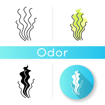 Bad smell icon. Stinky scent. Toxic gas, stench. Fragrance curves. Dirty air odor, emission. Fume swirls, evaporation malodor. Linear black and RGB color styles. Isolated vector illustrations
