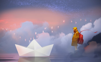 Digital illustration painting design style a cute girl in yellow hood standing beside the lake and looking to big paper boat, against mist in morning.