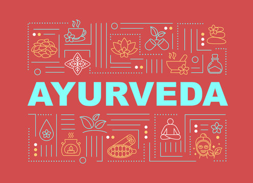 Ayurveda word concepts banner. Ayurvedic medicine. Holistic healing. Illness prevention. Infographics with linear icons on red background. Isolated typography. Vector outline RGB color illustration