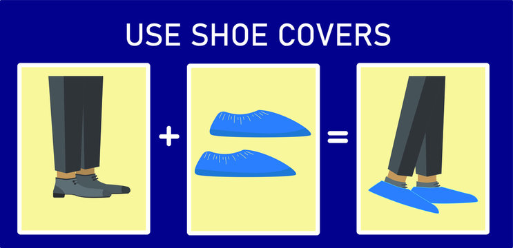 Illustration of shoe covers on a man's street shoes. Use shoe covers. Protection against dirt, bacteria and viruses. Public hygiene, boots covers. Isolated stock vector.