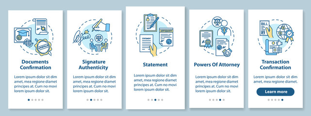 Legalization onboarding mobile app page screen with concepts. Apostille. Document, transaction confirmation. Walkthrough five steps graphic instruction. UI vector template with RGB color illustrations