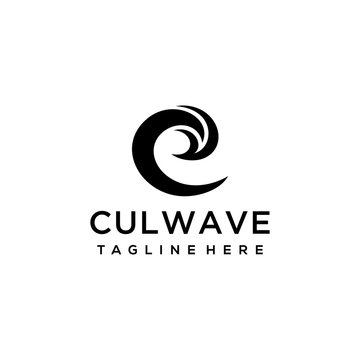 Creative luxury abstract water wave Logo icon Template