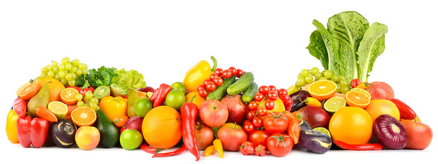 Panorama of fresh vegetables and fruits isolated on white. Side view. Wall mural