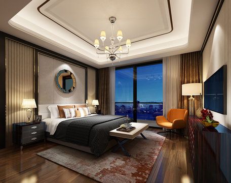 3D rendering bed room, so comfortable