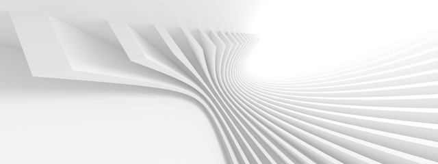 Fotobehang - White Modern Tunnel Background. Abstract Building Concept. Minimal Geometric Shapes Design