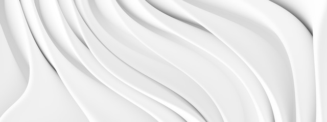 Fotobehang - White Wave Background. Abstract Minimal Exterior Design. Creative Architectural Concept
