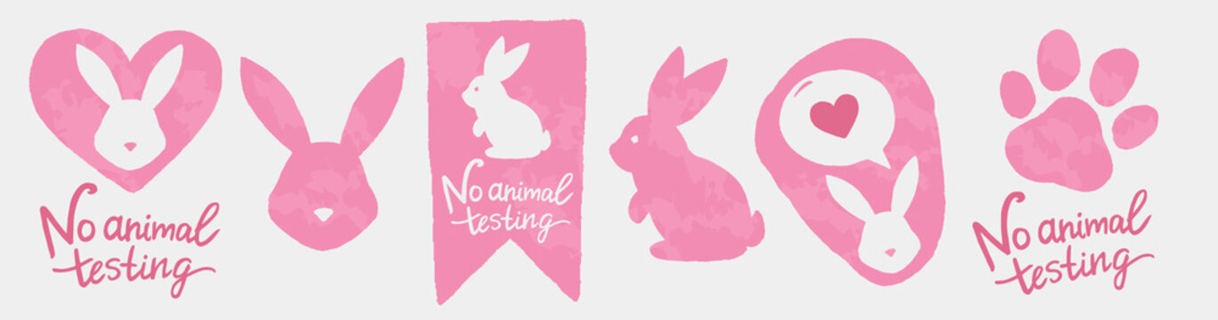 Against animal testing stickers. Cruelty free vector labels. Animal rights design.