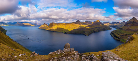 Wall Mural - Panorama of fjords near the village of Funningur in Faroe Islands, Denmark