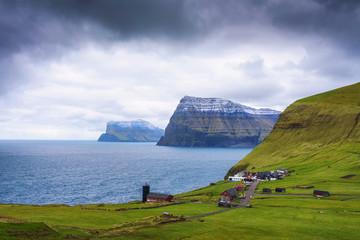 Village of Trollanes on the island of Kalsoy in Faroe Islands, Denmark