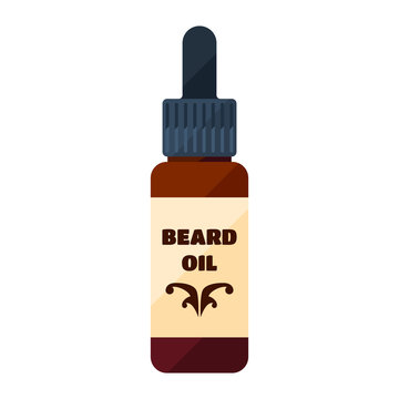 Beard oil flat icon isolated on white for man hair care