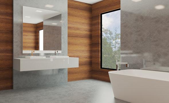Bathroom with wood paneling on the walls. modern sink. marble floor. 3D rendering.