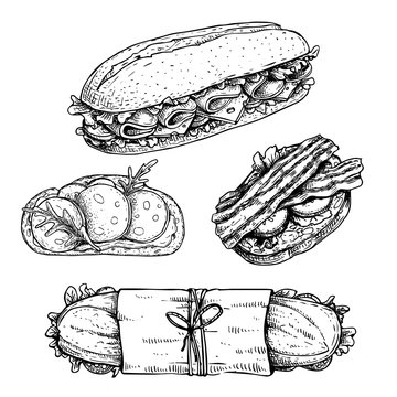 Hand drawn sketch sandwiches set.  Submarine, ciabatta, sandwiches with lettuce leaves, salami, cheese, bacon, ham and veggies. Top and perspective view. Fast food restaurant menu.