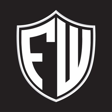FW Logo monogram with shield shape isolated on outline design template