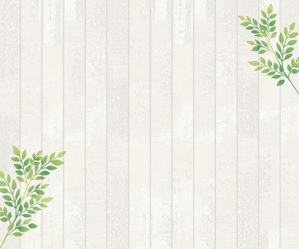 水彩で描いた白い木の背景と葉