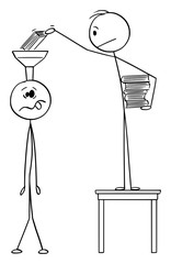 Vector cartoon stick figure drawing conceptual illustration of man putting books in to head or brain of ignorant or uneducated person.Concept of education.