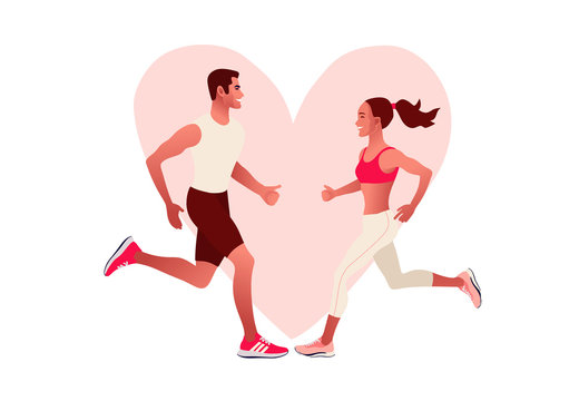 Happy couple running. Heart sign. Man and woman in love on morning jogging. Active and healthy lifestyle. Vector illustration style
