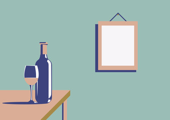 Elegant bottle of wine with a wine glass and a picture on the wall with copy space in minimal art deco style