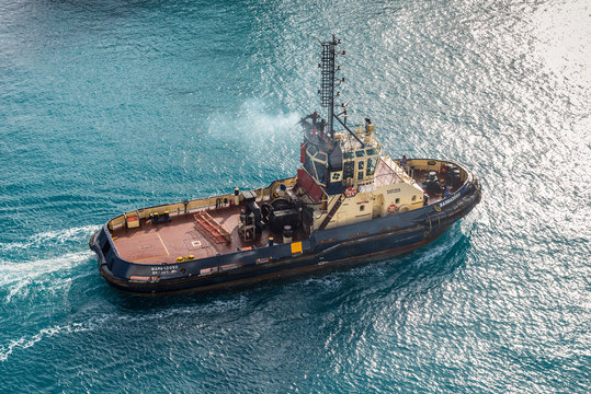 Bridgetown, Barbados - December 18, 2016: Port Authority tug BARBADOS II operates at the Bridgetown port, Barbados island, Caribbean.