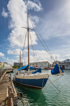 Bridgetown, Barbados - December 18, 2016: Sailing yacht moored in the downtown marina of Bridgetown, Barbados, Caribbean.