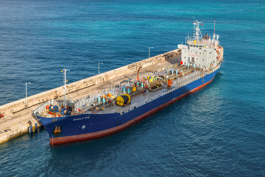 Bridgetown, Barbados - December 18, 2016: Oil Products Tanker Emily PG vessel moored in port of Bridgetown, Barbados island, Caribbean.