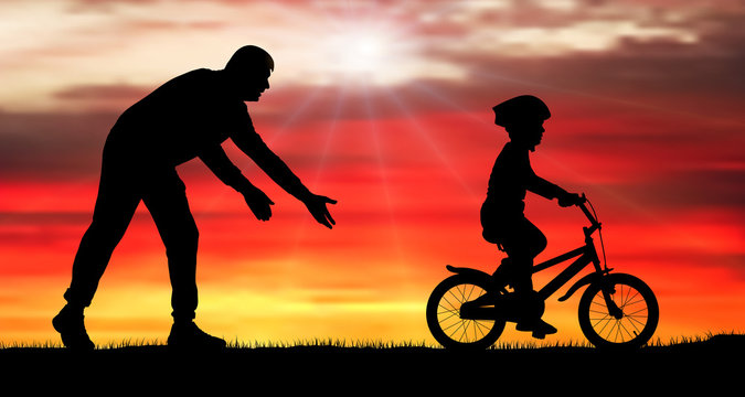 Father teaches baby to ride bicycle. Silhouette vector illustration