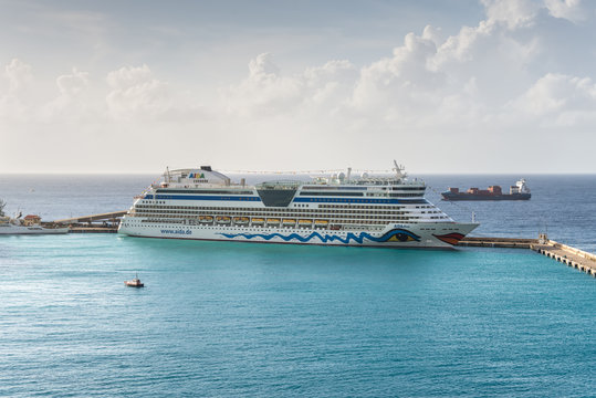 Bridgetown, Barbados - December 18, 2016: AIDA Diva cruise ship operated by the German cruise line AIDA Cruises moored in port of Bridgetown, Barbados island, Caribbean paradise.