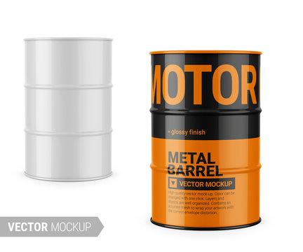 White glossy metal barrel mockup template.