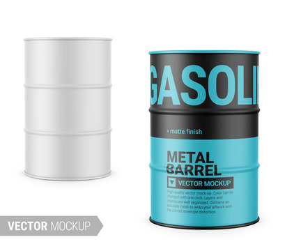 White matte metal barrel mockup template.