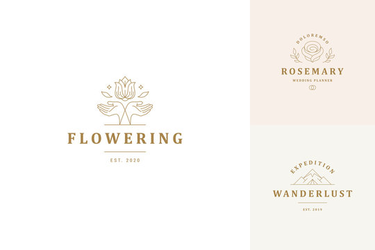 Vector line logos emblems design templates set - female gesture hands and rose flower illustrations
