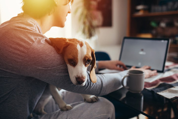 young man cuddling with his dog while drinking morning coffee and using laptop in his kitchen