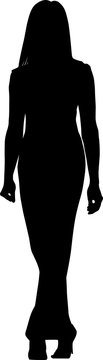 Vector silhouette of a fashionable woman in a long dress